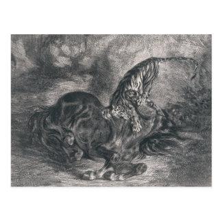 Eugene Delacroix - Wild Horse Felled by a Tiger Postcard