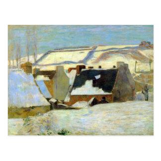 Eugène Henri Paul Gauguin - Breton Village in Snow Postcard