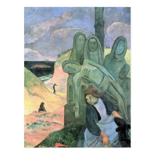 Eugène Henri Paul Gauguin - Green Christ Postcard