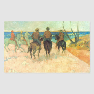 Eugène Henri Paul Gauguin - Riding on the Beach Rectangular Sticker