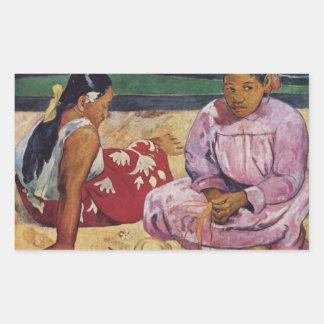 Eugène Henri Paul Gauguin - Tahitian Women on Beac Rectangular Sticker