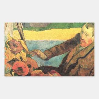 Eugène Henri Paul Gauguin - Van Gogh Painting Sunf Rectangle Stickers