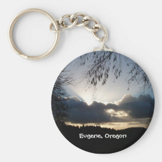 Eugene, Oregon Sunset Basic Round Button Key Ring