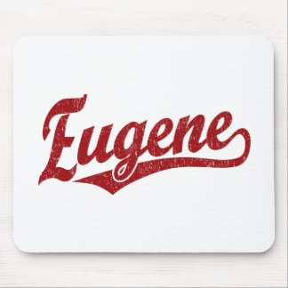 Eugene script logo in red mouse pad