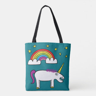 Eunice the Unicorn - All-Over-Print Tote Turquoise