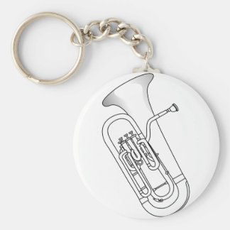 Euphonium Redwork Basic Round Button Key Ring