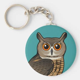 Eurasian Eagle-Owl Basic Round Button Key Ring