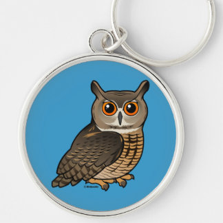 Eurasian Eagle-Owl Silver-Colored Round Key Ring