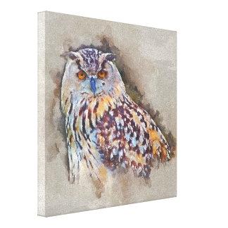 Eurasian Eagle Owl Painting Canvas Print