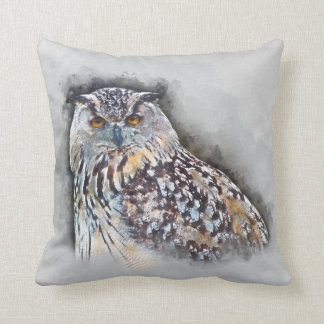 Eurasian Eagle Owl Watercolor Portrait Cushion