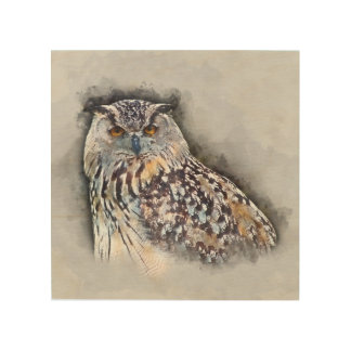 Eurasian Eagle Owl Watercolor Portrait Wood Wall Decor