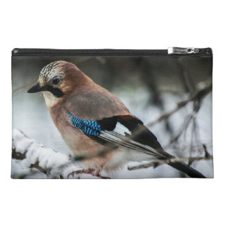 Eurasian Jay on a Snowy Branch Travel Accessories Bags