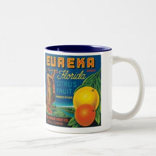 Eureka Brand Florida Citrus Fruit Coffee Mugs