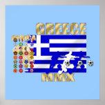 Euro 2012 - European Cup Greek fans flag ball Poster