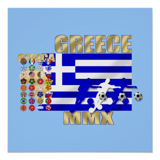 Euro 2012 - European Cup Greek fans flag ball Poster