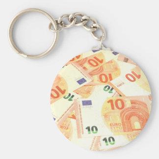 Euro background basic round button key ring