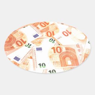 Euro background oval sticker