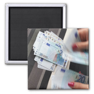 Euro bank notes currency | square magnet