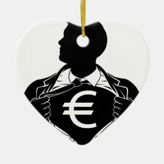 Euro Business Man Superhero Tearing Shirt Chest Ceramic Heart Decoration