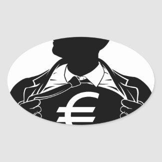 Euro Business Man Superhero Tearing Shirt Chest Oval Sticker