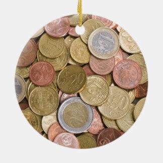 Euro Cents Round Ceramic Decoration
