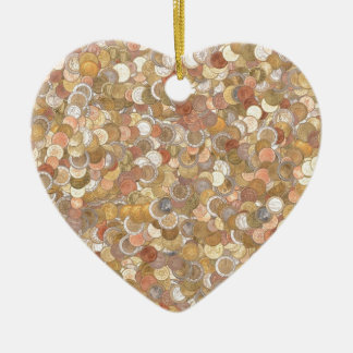 Euro coins ceramic heart decoration