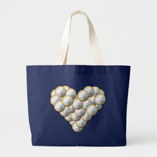 Euro Coins - heart pattern - bag, choose style Large Tote Bag