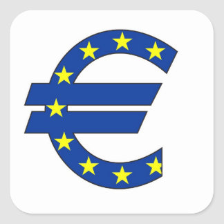 euro currency symbol money sign square sticker