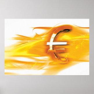Euro gold symbol print