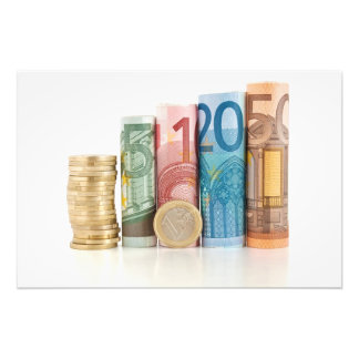 euro rolled bills and coin photo print