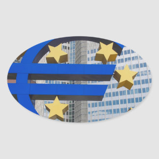Euro sign at European Central Bank Frankfurt Oval Sticker