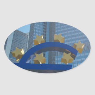 Euro symbol at European Central Bank in Frankfurt Oval Sticker