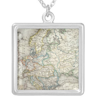 Europ Map Silver Plated Necklace