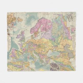 Europa - Geologic Map of Europe Fleece Blanket