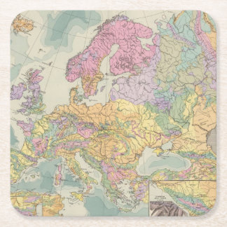Europa - Geologic Map of Europe Square Paper Coaster