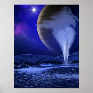 Europa Jupiter Moon Space Art Poster