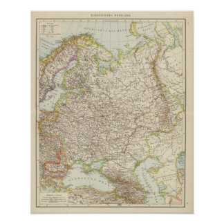 Europaisches Russland - Map of Europe and Russia Poster