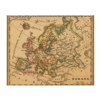 Europe 12 wood print