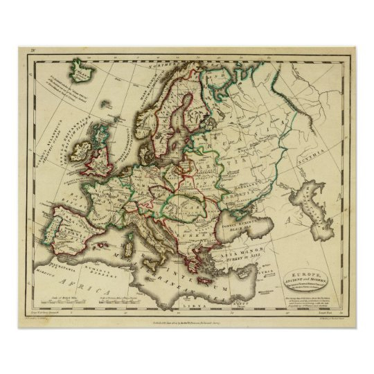 Europe ancient, modern poster