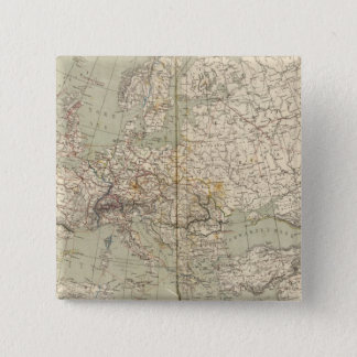 Europe Atlas Map showing railroads 15 Cm Square Badge