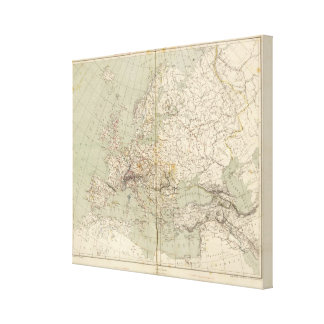Europe Atlas Map showing railroads Canvas Print
