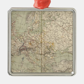 Europe Atlas Map showing railroads Christmas Ornament