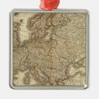 Europe Atlas Map Silver-Colored Square Decoration