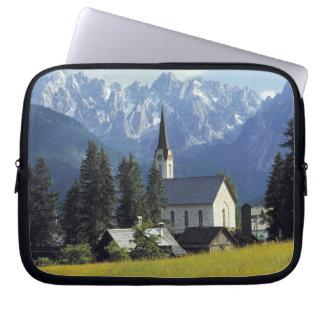 Europe, Austria, Gosau. The spire of the church Laptop Sleeve