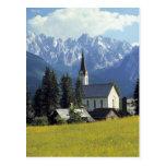 Europe, Austria, Gosau. The spire of the church Post Card