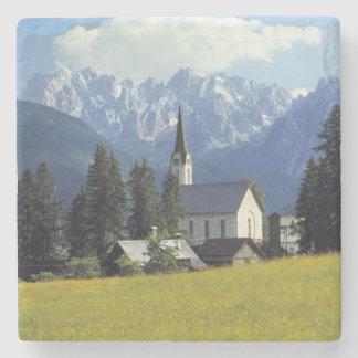 Europe, Austria, Gosau. The spire of the church Stone Coaster