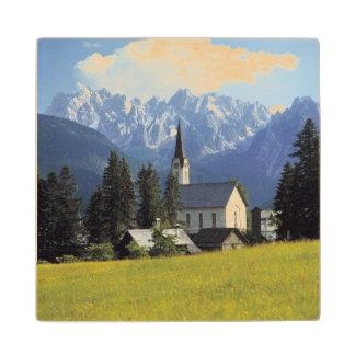 Europe, Austria, Gosau. The spire of the church Wood Coaster