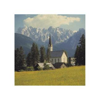 Europe, Austria, Gosau. The spire of the church Wood Wall Art