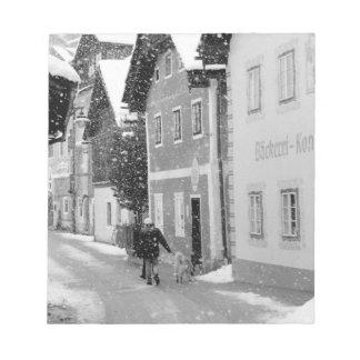 Europe, Austria, Hallstat. Snowy street Notepad