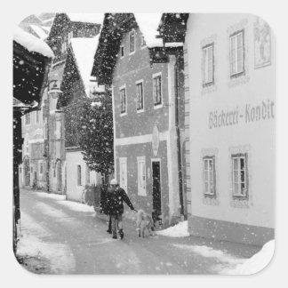 Europe, Austria, Hallstat. Snowy street Square Sticker